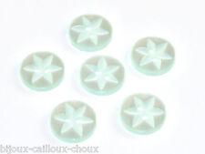 mercerie Lot de 6 BOUTONS en plastique vert pâle nacré étoile Ø 15mm button