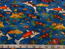 SEA LIFE DOLPHIN COTTON FABRIC Fish Seal Dolphins Turtle Sea Ocean 3/4 YARD- 27""