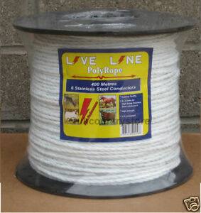 White Electric Fence Rope 400m - 6mm Horse Fencing Poly Rope