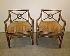 Pair of Vintage Mid Century Modern McGuire Tan Stripped Bamboo Accent Chairs