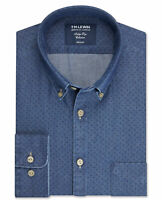 T.M.Lewin Mens Geometric Slim Fit Navy Single Cuff Shirt