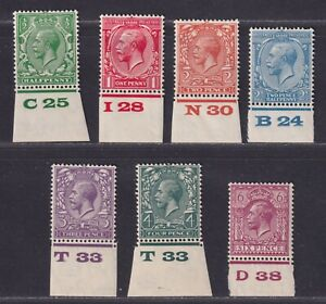 Great Britain SG 418//426 Scott 187//195 1924 KGV Blk Cypher w/ Control Numbers