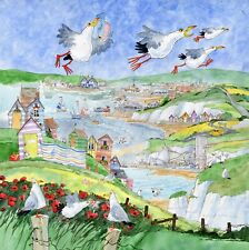 """GULLS OVER THANET, KENT. 16""""x16"""" MOUNTED PRINT FROM A PAINTING BY D.BAILEY"""