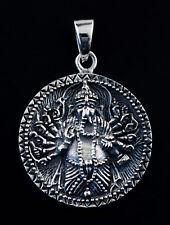 Medaille Lord Ganesha Pendentif  Elephant Argent 925 11g Bijou Hindou K101 25422