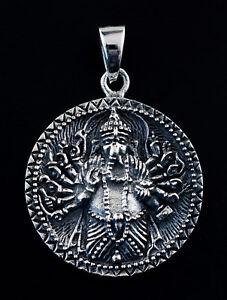 Medaglia Signore Ganesha Ciondolo Elefante Argento 925 11g Gioiello Indù K101