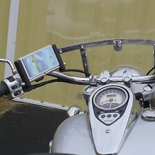 "Universal Fit Motorcycle Phone Mount for BIG phones - CHROME - 1"" Handlebar"
