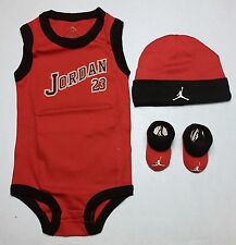 AIR JORDAN Baby BOYS Bodysuit/Romper, Booties & Cap 3-pc set RED 0-6Months