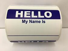 """250 Labels 3.5""""x 2.375"""" BLUE Hello My Name Is Badge Tag Identification Stickers"""