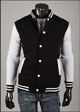 US Seller Slim Fit Letterman Jacket White Snap Varsity Top College Coat PK45