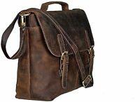 kk's 16 Inch Retro Buffalo Hunter Leather Laptop Messenger Bag Office Briefcase