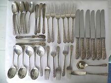"1938 INTERNATIONAL ""RADIANT ROSE"" 43PC STERLING SILVER FLATWARE SERVICE 6"