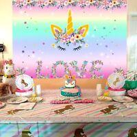 7x5ft Unicorn Themed Photo Backdrop Kid Birthday Party Background  Wall Sticker