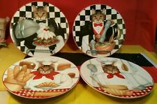 Set of 4 Oneida Sakura Gourmet Cats by Stephanie Stouffer Salad / Dessert Plates