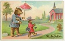 1907 dressed bear family heading to Church postcard