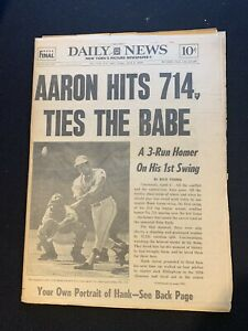 April 5, 1974 NY Daily News Complete Newspaper Hank Aaron 714 HR ties Babe Ruth