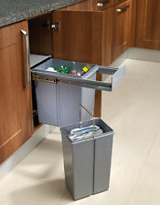 30L Pull Out Kitchen Waste Bin for 300mm Cupboards with Hinged Doors 1x20L 1x10L