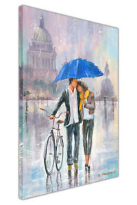Couple With Umbrella and Bicycle on Framed Canvas Pictures Wall Art Print