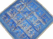 "Blue Table Linens - Brocade Elephants Peacocks Zari Indian Tablecloth Topper 48"""
