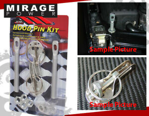 Silver Aluminum Racing Hood Security Lock Down Pins Kit Pair For Integra RSX TSX