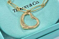 Tiffany & Co 18K Gold Elsa Peretti Open Heart Charm Oval Chain Link Bracelet