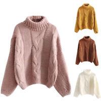 Damen Herbst Sweater Rollkragen Langarm Stricken Pullover Warm Sweatshirt  L/P