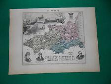 PYRENEES ORIENTALES CARTE ATLAS MIGEON Edition 1885, Carte + fiche descriptive