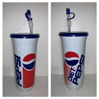 Vintage 90s Pepsi / Diet Pepsi Plastic Cup With Lid & Straw 8.5""