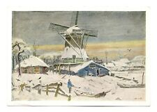 Windmill Amsterdam Postcard Netherlands Art House Boats Vintage Unposted