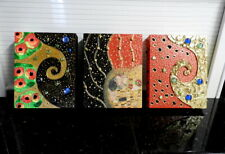 "Colorful Triple Klimt ""Kisses"" Wooden Art Print  Unframed"