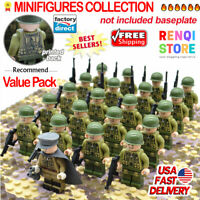 21pcs WW2 Military Soldiers France US Britain Army + Weapon for Leg0 Minifigures