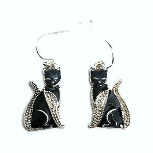 Gothic Occult Horror Punk Emo 80s 90s Black Kitty Siamese Cat Earrings Ear Rings