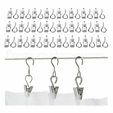 72 x IKEA RIKTIG Stainless Steel Curtain Hooks With Clips