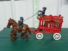 Vintage Cast Iron Overland Circus Horse Drawn Cage Wagon w/ Bear 3 Riders Toy L8
