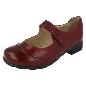 Ladies Easy B Red or Grey Riptape Leather Low Heel Shoes : Modena
