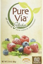 PureVia Stevia Zero Calorie Sweetener 80-Count Packets/ 2.8 Oz All Natural