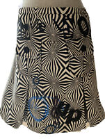 desigual Women's Geometric Pleated Black white a line Skirt, size 40/ USA 6