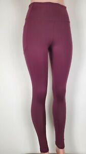 Victorias Secret VS PINK High Waisted Knockout Leggings L Burgundy Side Pockets