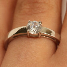 0.50Ct Round Cut White Diamond Engagement Wedding Ring 18K White Gold Finish