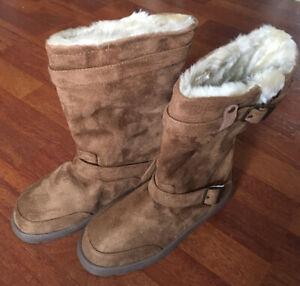Ella Ladies Faux Suede Fur Lined Buckle Biker/Snow Boots.UK4.EU37