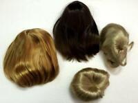 "Lot of 4 Girl Doll Chrissa Wig Nellie Wig Bob Twin Wigs 18"" doll wig BIN"