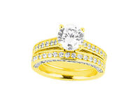 2.00Ct Round Cut Diamond Bridal Engagement Ring Set Solid 14k Gold IJ I1