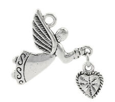 "10PCs Silver Tone HQ Angel Love Heart Charm Pendants 25x22mm(1""x7/8"")"