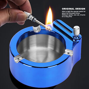 Home Office Stainless Steel Ashtray With Matches Lighter Function Wear Resis DM