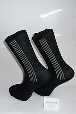Grey socks with vertical thin black/blue stripes design. Cotton Socks/Sox