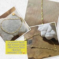 Bracelet chaine Perles Fine Résine Jaune Fluo Plaque  Or Réglable Ref Gigi Promo