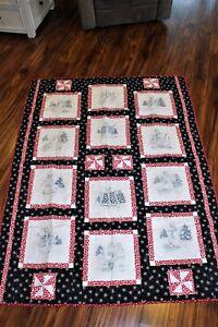 handmade quilt - Red, White & Black - Winter themed NEW