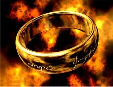 316L Titanium Steel Lord of the Ring Design Laser Engraving Ring 10# Gold Cool