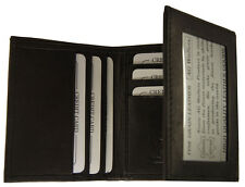 Mens Trifold Cowhide Leather Wallet Classic Style Cards Outside ID Black
