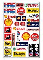 31 PVC Aufkleber Agip Shell Elf HRC Satz Auto Moto Motorrad Vinyl Stickers Set