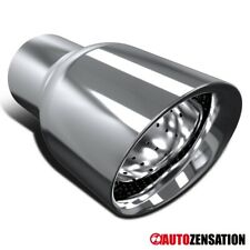 """2.5"""" Inlet/ 3.5"""" Outlet Chrome Stainless Steel Exhaust Muffler Tip Tail Pipe"""